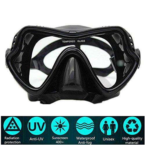 PluieSoleil Masque de Plongée Verre Trempé, Antibuée et Anti-Fuite pour Les Adultes (Noir)