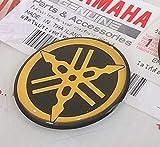 100% Genuine 30mm Diamètre Yamaha Diapason Autocollant Emblème Logo Noir/or Surélevé Gel Bombé Résine Adhésif Moto / Jet Ski / Atv / Motoneige
