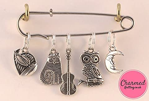 The Owl and the Pussy Cat - 5 Silver Knitting Stitch Markers by Charmed Knitting