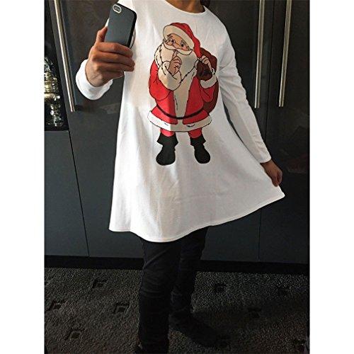 Honghu Manches Longues Noël Robes Femme,Santa Impression Dress de Swing Party de Noël Automne-hiver Blanc
