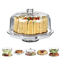 HBlife 6 in 1 Acrylic Food Dome, Multifunctional Cake Stand Dome for Wedding Party