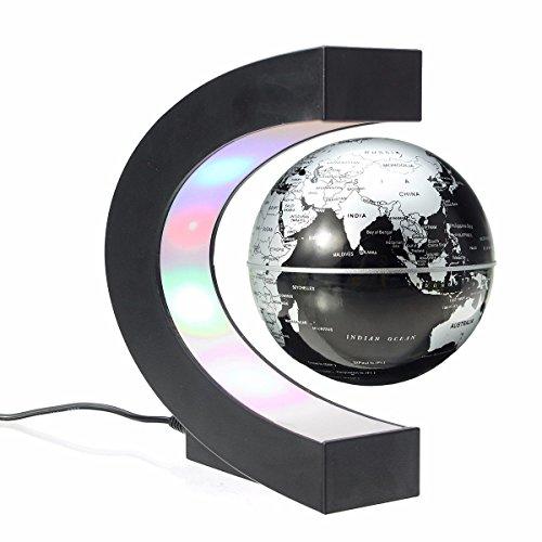 Funny C Forme Décoration magnétique levitation flottant Globe avec LED Light World Map anti gravité Globe Noël enfants nouveauté cadeau Noël Santa décor Accueil (Noir)