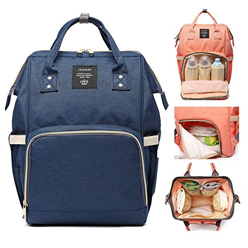Eulan Diaper Bag Backpack Multi-Function Baby Nappy Tote Bags Travel Backpack for Baby Care, Large Capacity Waterproof Stylish Nappy Changing Bags Canvas Mummy Handbag Waterproof (Navy Blue) -
