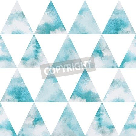 "Poster-Bild 90 x 90 cm: ""Cloudy sky triangles seamless vector pattern. Geometrical background. Watercolor heaven with clouds. Blue sky, shades of white. "", Bild auf Poster"