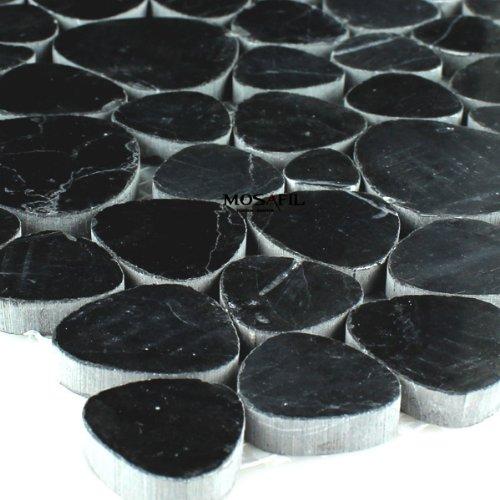 Marmor Kiesel Optik Mosaik Fliesen Schwarz Poliert Marmormosaik