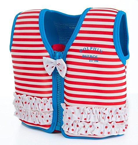 The Original Konfidence Jacket I Neopren Schwimmjacke ideal für Kinder I inkl. Baumwoll-Windel, Größe:18Mon-3Jahre, Design:Marthas Red Stripe Frills