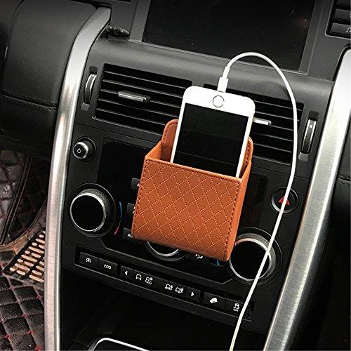 Auto aufbewahrungstasche Handyhalterung Kunstleder Lüftungsschlitz Tasche Universal Organizer für Handy Schlüssel Geldbeutel Tassen Cubby Box (Braun) (Cubby-boxen)