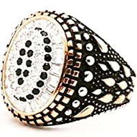 silver ring for men - size 5 - Black and gold