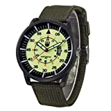 Uhr herren schwarz Mumuj Luxury Lässig Militär Jungen Quarzuhren Army Black Dial Date Armbanduhren Sport Nylon Uhrenarmbänder Grün Uhren Beliebte Fitness Uhren (grüner_W)