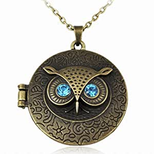 Caltrad Antiqued Vintage Brass Owl Locket Long Pendant Necklace with Blue Zircon Eye