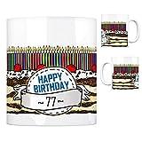 Geburtstagstorte Kaffeebecher zum 77. Geburtstag mit 77 Kerzen Tasse Kaffeetasse Becher Mug Teetasse Büro 77 Jahre Tasse Torte Kuchen 77 Kerzen Geschenkidee Geburtstagstasse Schwarzwälder