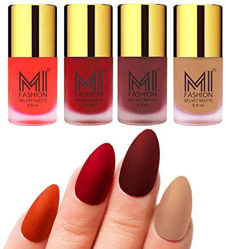 Matte Nail Polish Shades by MI Fashion®|Orange Matte Nail Polish|Tomato Red Matte Nail Polish|Maroon Matte Nail Polish|Nude Matte Nail Polish Combo of 4 Pcs|9.9ml