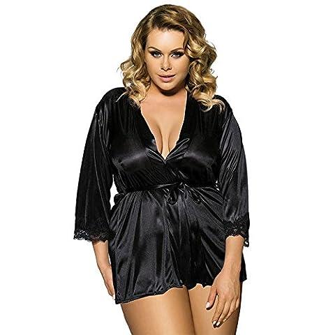 Damen sexy Dessous Plus Size Satin Slip Chemises Kimono Nachtwäsche Set Kleid Bequemer Nachtwäsche , B , (Seemann-mädchen-kostüm-plus Size)