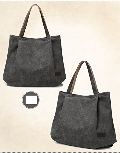 VADOOLL Damen Schultertasche Canvas Totes Hobo Bag mit einfachem Stil Grau