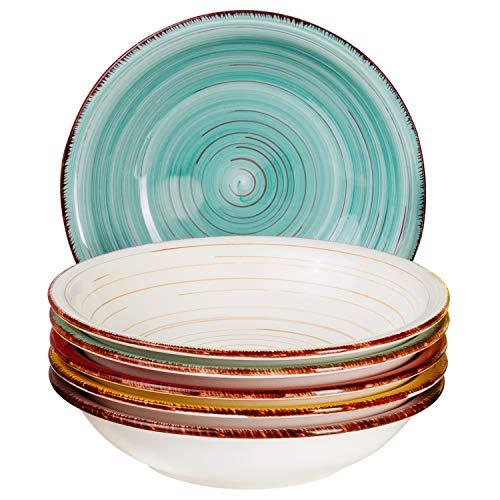 MamboCat Teller-Set Rimini für 6 Personen | Suppenteller Tief | 650 ml | Salat-Teller | Runde Servier-Schale | Porzellan-Schüssel | Handbemalt | Mehrfarbig