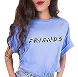 Tomwell Camiseta Mejor Amiga Shirt Best Friend Logo para Mujer 100% Algodón T-Shirt TV Impresión Fiends Blanco Básico Manga Corta Redondo Verano Elegante Regalo Azul ES 38