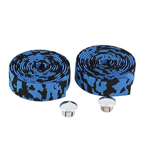 WENZESHIYE Lenkerband für Rennrad, Lenkerband, Fahrradstangen-Wraps mit 1 Paar Bandband + 2 Stangenstopfen schwarz/blau (Gepolsterte Lenkerband)