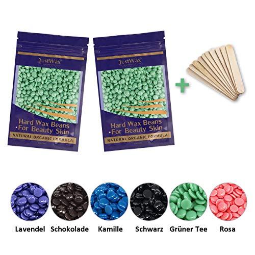 Wax Beans Haarentfernung Wachs - Wachsbohnen - Wachsperlen - Waxing Perlen - Wachs Enthaarung - Waxperlen Waxbohnen - Hard Wax Beads Niedrigtemperatur ohne Vliesstreife 200g(Grüner Tee)