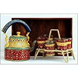 Rhytansh Trendz Hand Painted Aluminium Tea Kettle With Six Glasses And Stand For Home Decor And Self Use