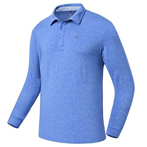 donhobo Herren Langarm-T-Shirt, schnelltrocknend, atmungsaktiv, Polo-Shirt, Golf Tennis Polos Gr. M, dunkelgrau