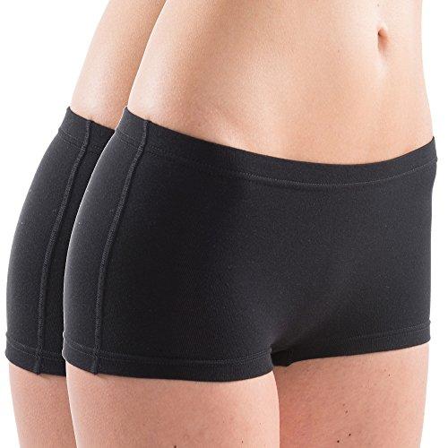 HERMKO 5700 2er Pack Damen Panty aus anschmiegsamer Baumwolle / Elastan, Farbe:schwarz, Größe:32/34 (XS) (Briefs Hipster Boxer)