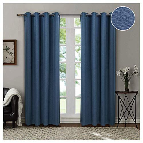 kdichte Vorhang mit Raffhalter 2er Pack 140x245cm, Abdunkelnde Ösen Thermogardinen im Leinenoptik für Schlaf- und Wohnzimmer (Dunkel Blau) ()