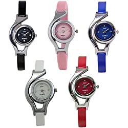 Combo of 5 Codice Designer Analog Watches for Girls and Women (White,Black,Blu...