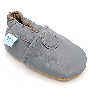 Dotty Fish Soft Leather Baby Shoes. Toddler Shoes. Non-Slip Suede Soles. Boys and Girls. Plain Colours. 0-6 Months To 3-4 Years