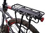 West Biking - transportador completo rápida liberación fácil instalación aluminio portaequipajes trasero para bicicleta con reflector (negro y blanco), Infantil hombre mujer, negro