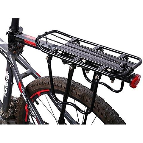 West Biking Full Quick Release Porta Posteriore per Bicicletta Portapacchi in alluminio con riflettore (Nero, Bianco), Bambino Uomo donna, Black - Lega Posteriore Rack