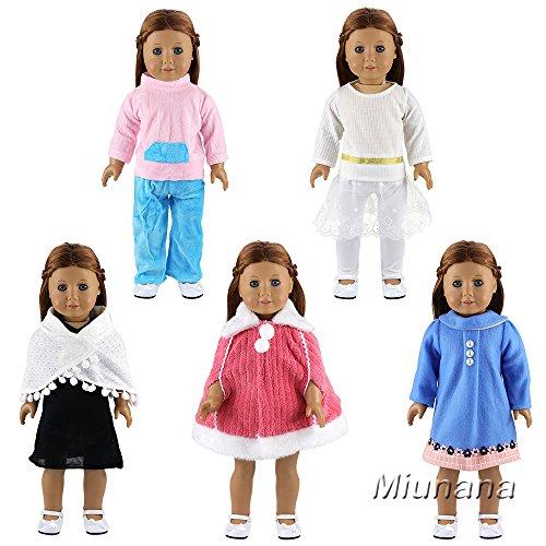 Doll Schlafanzug Passenden (Miunana 5 Sets Kleidung Kleider Schlafanzug Prinzessin Kleid Winter für 45-46 cm Puppe 18 Inch American Girl Dolls)