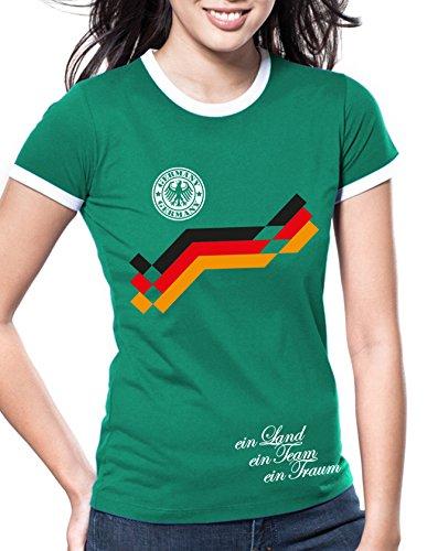 Luckja WM 2018 Deutschland Retro Trikot Wunschname und Wunschnummer Motiv 10 Damen T-Shirt
