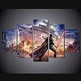 sanjiiNG Stampa su tela Immagine Wall Art 5 pezzi Star Wars Force Scatenato Spade laser Dipinti Decorazioni per la casa Modulo Poster Soggiorno Cornice40cmX60cmX2 40cmX80cmX2 40cmX100cmX1