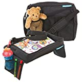 Children's Snack & Play Car Seat Travel Tray & Carry Bag Set by Supa-Dupa! Perfect for travel activities for stressful Kids in the car, airplane or stroller. Suitable for most kids & toddler carseats (BONUS Carry Bag)