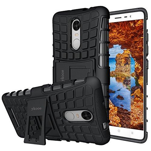 ykooe Xiaomi Redmi Note 3 Hülle, (TPU Series) Redmi Note 3 Pro Dual Layer Hybrid Handyhülle Drop Resistance Handys Schutz Hülle mit Ständer für Xiaomi Redmi Note 3 / Note 3 Pro Schwarz