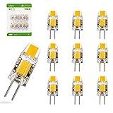 Liqoo 10er G4 LED 1,2W Lampe Birne high Power COB Chip gleichmäßige Beleuchtung 107D Kapazitanz inkl.IC hohe CRI 83Ra super mini Ø 10mm 2800K Warmweiß 120LM Ersetzt 10W Halogenlampe AC DC 12V, Nicht Dimmbar