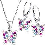 Multicolor Kristall Schmetterling Brisur Ohrringe + Anhänger + Kette 925 Silber Mädchen Kinder Set (38)