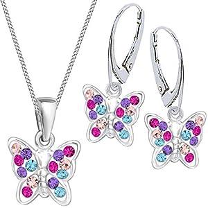 Multicolor Kristall Schmetterling Brisur Ohrringe + Anhänger + Kette 925 Silber Mädchen Kinder Set