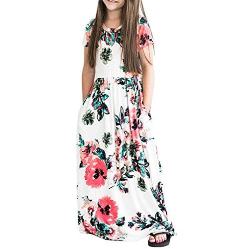 Babysbreath17 Boheniam Sommer-Kurzschluss-Hülsen-Kind-lange Kleid-Mädchen-Rundhalsausschnitt mit Blumenmustern Sundress Fashion Beach Kids Maxikleid Weiß 120cm