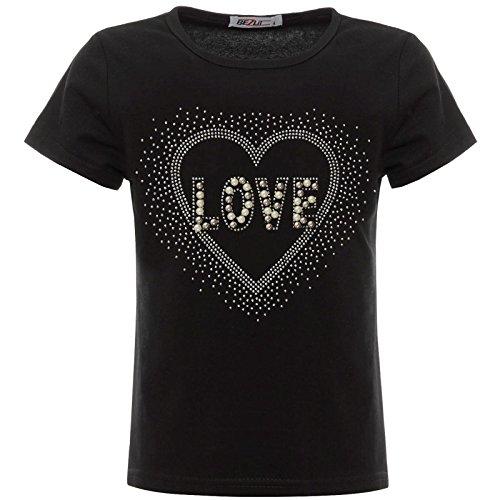 BEZLIT Mädchen Glitzer T-Shirt Herz Motiv Oberteil Kunst-Perlen 22538 Schwarz 152