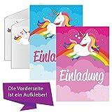 EinhornLiebe® Einhorn Einladungskarten 12 Stück mit Umschlägen & Aufkleber Kinder Geburtstag-Einladungen Karten Feier Party Mädchen Einschulung