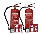 2x 6 KG ABC Pulver Feuerlöscher + 2x ISO Piktogramm - vom Brandschutz Fachhändler seit 1997