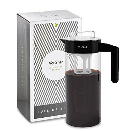 VonShef Cold Brew Kaffeebereiter für Eiskaffee & Eistee   1300ml Cold Drip Kaltwasser-Coffee Maker aus Borosilikatglas mit Filter für Kaltgebrühten Kaffee und Tee   Ideal Geschenk Für Kaffeeliebhaber - Kaffee-eistee-maker