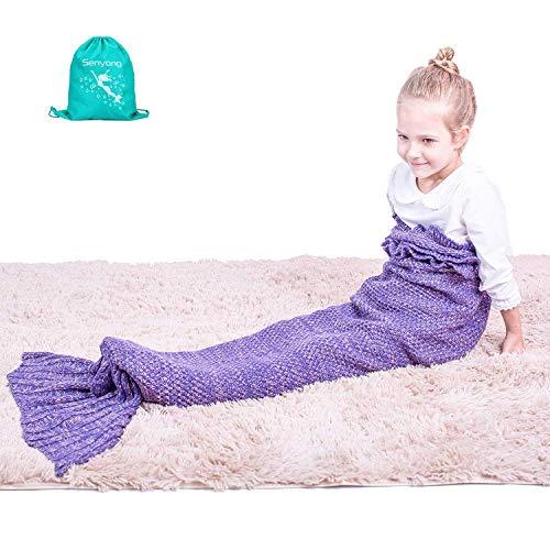 Meerjungfrau Decke - SENYANG meerjungfrau decke für kinder, alle Jahreszeiten Schlafsack für Kinder, Meerjungfrau-Schwanz-Decke für Mädchen Geschenke, Geburtstags Geschenke, Weihnachtsgeschenke (Schlafzimmer-bett Beutel In Einem Mädchen)