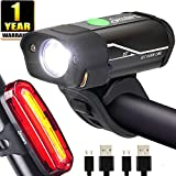 Yabife USB Rechargeable Bike Light Set, 350 Lumens Bicycle Headlight + 120 Lumens