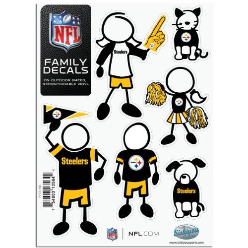 Siskiyou NFL Allgemeine Sporting Goods Kleine Familien Aufkleber Set, Pittsburgh Steelers, 5x7