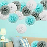 """bobotogo 18pcs Hanging Tissue Paper PomPoms, 10"""" & 14"""" White Light Blue & Grey Tissue Paper Flowers for Decoration Birthday Baby Shower Wedding Home Decorations Party"""