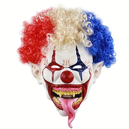 Halloween Maske Beängstigend Clown Latex Volles Gesicht Maske Afro-Haar Explosiven Kopf Blutig Großen Mund Lange Zunge Cosplay Horror Masquerade Partei Requisiten Für Erwachsene