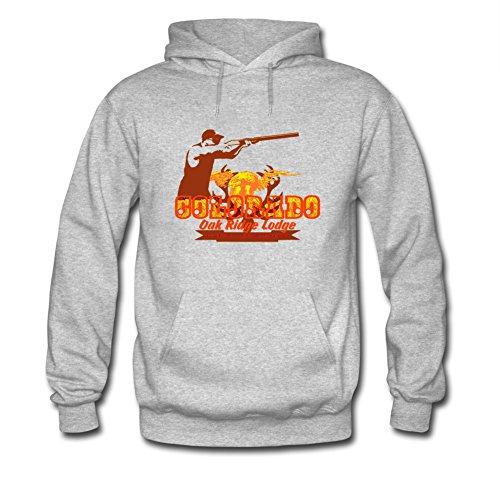 Colorado Warrior In A Gun Men's Patriotic Hoodie Sweatshirt (Sweatshirt Grau Colorado)