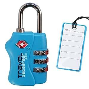 Lucchetto per bagagli TSA + TAG corrispondente   I COLORI BRILLANTI aiutano a identificare facilmente i bagagli